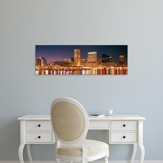 Easy Art Prints Panoramic Images's 'Buildings lit up at dusk, Baltimore, Maryland, USA' Premium Canvas Art