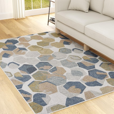Brookside Low Pile Abstract Kaleidoscope Rug, Navy and Cream