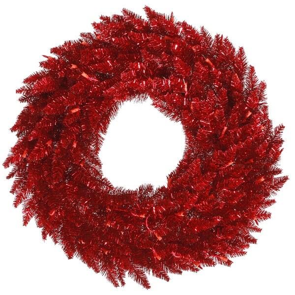 """48"""" Tinsel Red Fir Wreath 480T"""