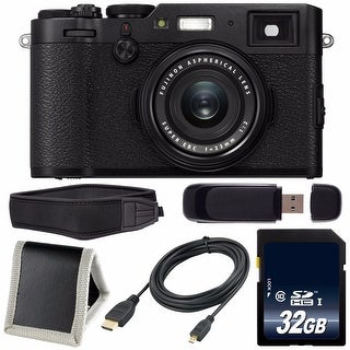 Fujifilm X100F Digital Camera (Black) International Model 16534651 + 32GB SDHC Card + HDMI Cable + Pro Hand Camera Grip Bundle