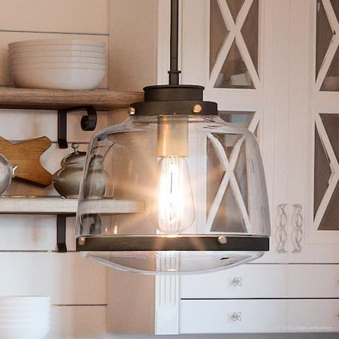 """Luxury Industrial Chic Pendant Light, 11""""H x 11""""W, with Art Deco Style, Olde Bronze Finish by Urban Ambiance"""
