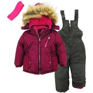 Pink Platinum Girls Snowsuit Geo Print Jacket Snowboard Suit Ski Bib - Magenta