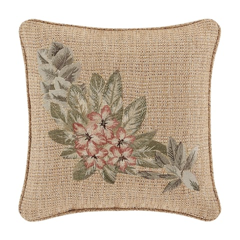 Five Queens Court Martina 18 Inch Square Embellished Decorative Throw Pillow