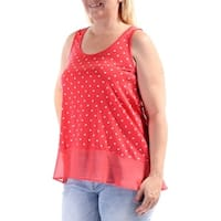 MAISON JULES Womens Red Printed Sleeveless Scoop Neck Top  Size: L