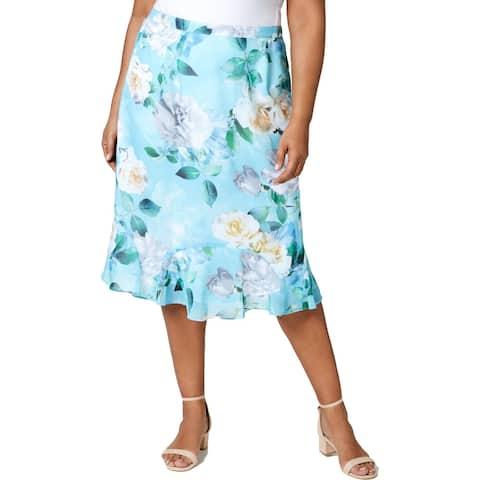 Alfred Dunner Womens Plus Midi Skirt Rose Floral Godet - Seafoam - 1X