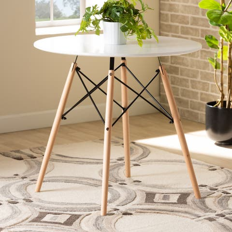 Varen Modern and Contemporary White Plastic and Wood Dining Table