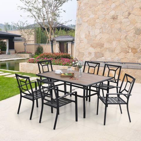 MFSTUDIO 7-piece Metal and Wood-like Patio Dining Set