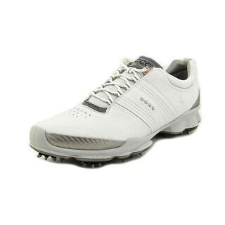 Ecco Biom Hydromax Men Round Toe Leather White Golf Shoe