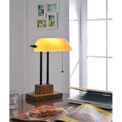 Parker Natural Slate 15-inch Banker Lamp