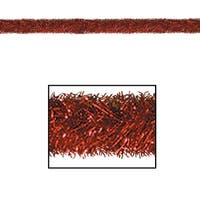 100' Festive Shiny Red Gleam 'N Tinsel Holiday Garland - Unlit