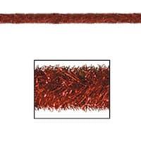100' Festive Shiny Red Gleam 'N Tinsel Holiday Garland - Unlit
