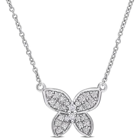Miadora 10k White Gold 1/8ct TDW Diamond Cluster Butterfly Necklace - 11 mm x 17 inch x 13.6 mm - 11 mm x 17 inch x 13.6 mm