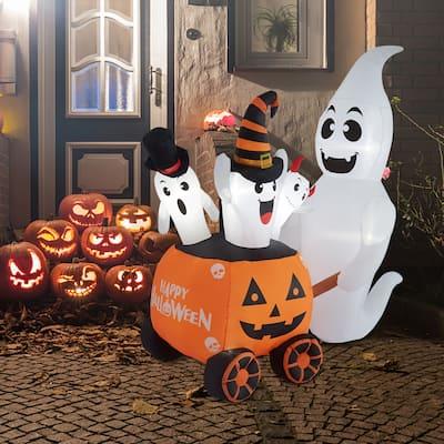 Kinbor 6FT Halloween Inflatables Ghost with Pumpkin Cart for Decor Indoor/Outdoor Decorations Yard,Patio,Garden - 6 FT