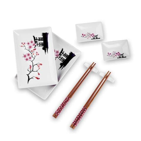 8 Piece White Pattern Porcelain Plates Dipping Saucers and Chopsticks