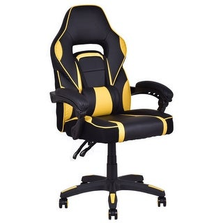 Costway Executive Racing Style PU Leather Gaming Chair High Back Recliner Office Yellow|https://ak1.ostkcdn.com/images/products/is/images/direct/bdac218c7f7299425682bef004463b3c11e5a26b/Costway-Executive-Racing-Style-PU-Leather-Gaming-Chair-High-Back-Recliner-Office-Yellow.jpg?_ostk_perf_=percv&impolicy=medium
