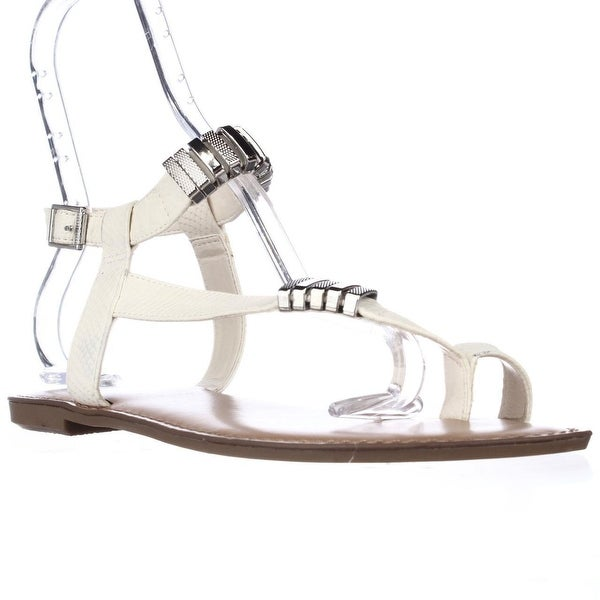 B35 Verna Toe Ring Flat Sandals, White
