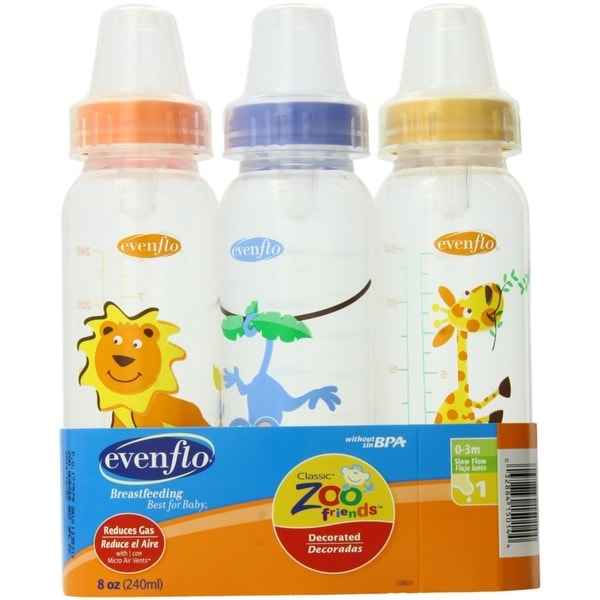 Evenflo Classic Zoo Friends Standard Bottles 8 Oz 3 ea