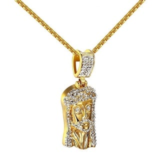 Iced Out Jesus Pendant Simulated Diamonds 14k Gold Tone Stainless Steel Chain