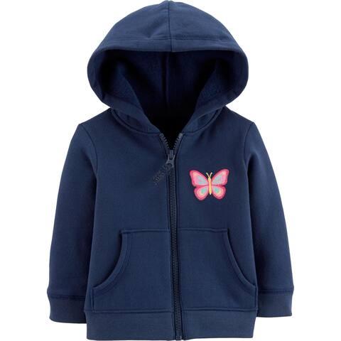 Carter's Baby Girls' Zip-Up Hoodie, Butterfly, Navy