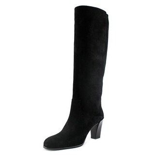 Roger Vivier Long Boot Vivier's T.75 Women Round Toe Suede Black Knee High Boot