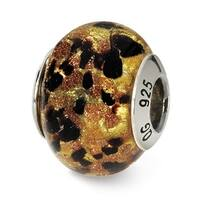 Italian Sterling Silver Reflections Yellowith Gold/Black Bead (4mm Diameter Hole)