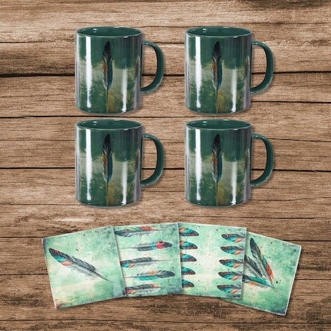 HiEnd Accents Tossed Feather Bohemian Mug and Coaster 8 PC Set