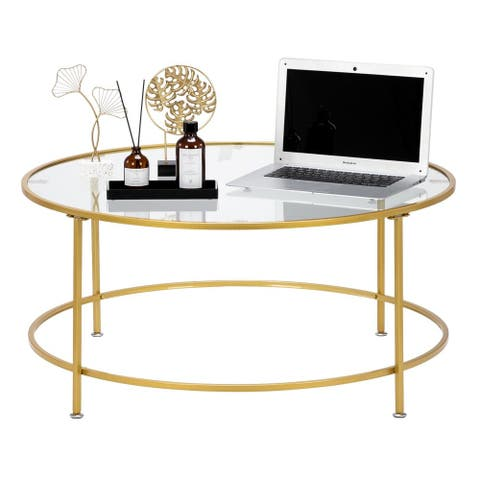 "Modern 36"" 2 Layers 5mm Glass Top Round Coffee Table Golden"
