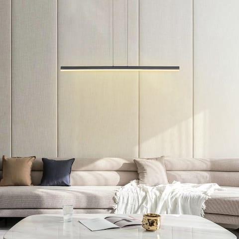 LED Modern Black Acrylic Linear Pendant Lamp - 47.64*4.72*59.2 IN