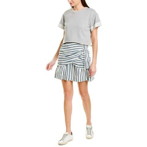 Derek Lam 10 Crosby Striped Mini Dress With Sweater - GREY-WHITE