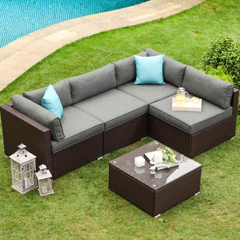 COSIEST 5-piece Espresso Wicker Sofa Patio Furniture Set with Pillows