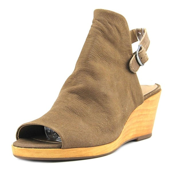 Lucky Brand Keralin Women Open Toe Leather Brown Wedge Sandal