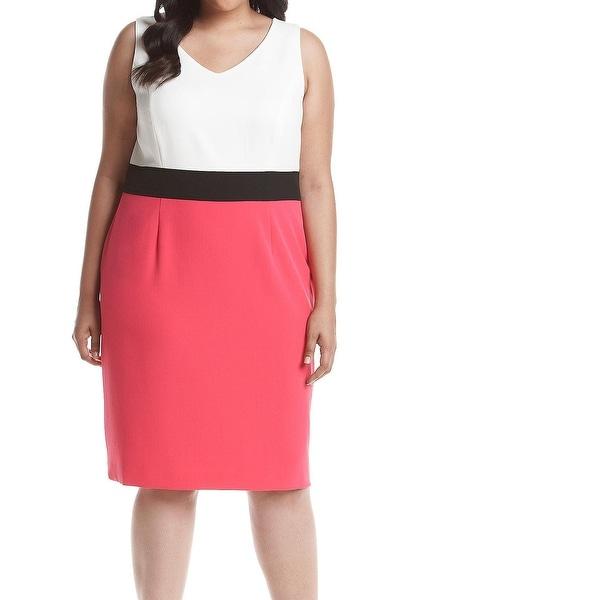 Kasper NEW Pink Colorblocked Women's Size 24W Plus Sheath Dress