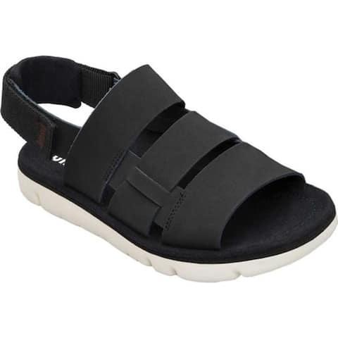 Camper Men's Oruga Sandal Black Full Grain Leather/Technical Fabric