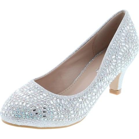 Forever Link Jemma-31 Womens Kitten Heel Jeweled Rhinestone Slide Slip On Pump Shoes