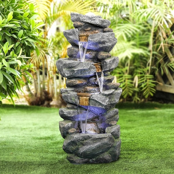 Outdoor LED 4-tier Stacked Rock Water Fountain. Opens flyout.