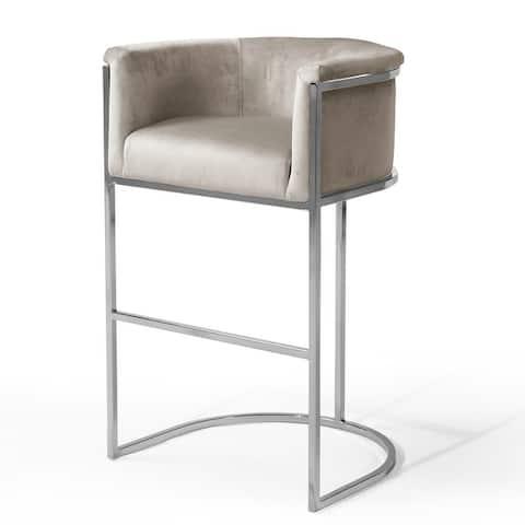 Chic Home Emery Velvet Upholstered Chrometone Base Bar and Counter Stool - N/A