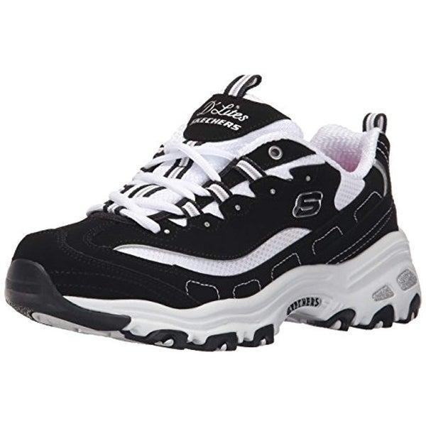 157eecc67b517 Skechers Sport Women's D'lites Memory Foam Lace-Up Sneaker,Biggest Fan  Black/White,8.5 M Us