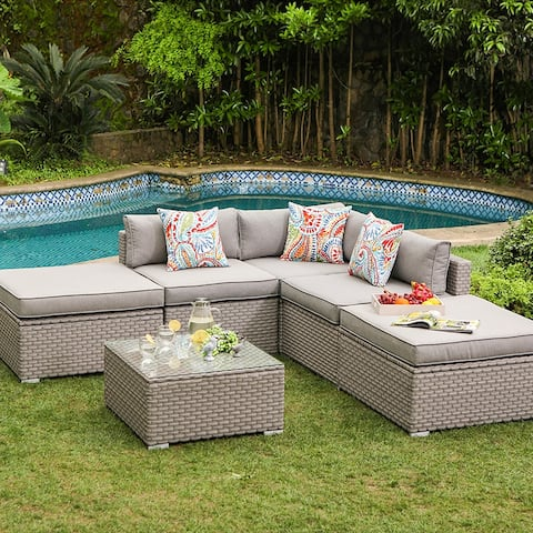 COSIEST 6-Piece Outdoor Furniture Wicker Sectional Sofa Set With Cushions