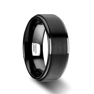 ORION Flat Black Tungsten Ring with Brushed Raised Center & Polished Edges