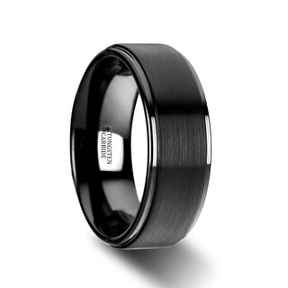 Orion Flat Black Tungsten Ring With Brushed Raised Center Polished Edges