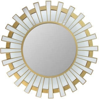 "25.5"" Sparkling Regal Sunburst Matte Gold Decorative Round Wall Mirror"