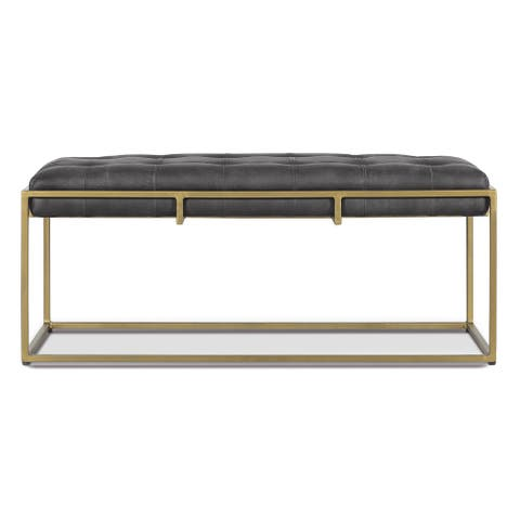 EdgeMod Glam Metal and Tufted Leather Curio Bench