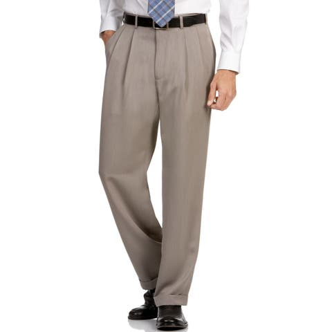Perry Ellis Taupe Men's Pants 40x30 Dress Pleated Classic Fit
