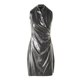 KamaliKulture Womens Shimmer Side Draped Cocktail Dress