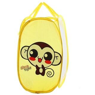 Portable Monkey Pattern Folding Pop up Laundry Mesh Washing Basket Storage Bag