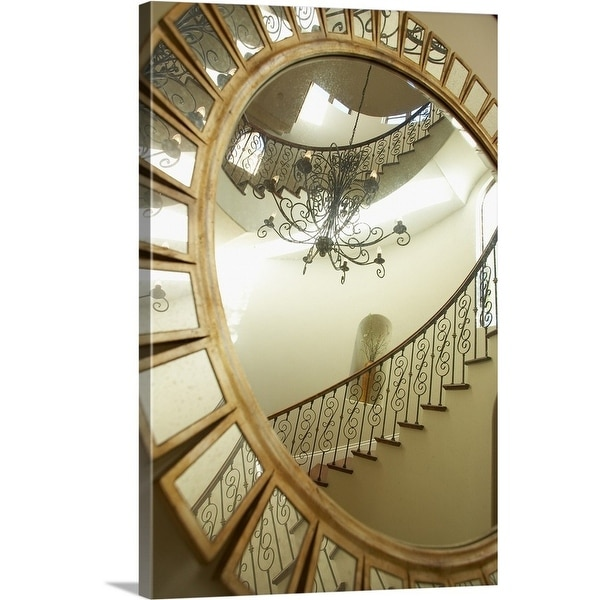 """""""Reflection of a chandelier and stairs in the mirror"""" Canvas Wall Art"""