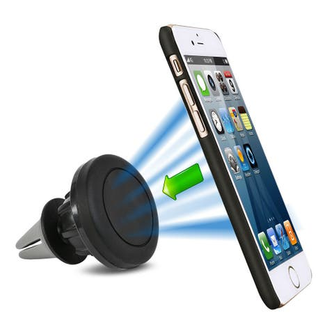 AGPtek Stand Universal Cell Phone GPS Air Vent Magnetic Car Mount Cradle Holder - Silver - M