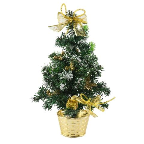 Table Christmas Tree Snow Flocking Berries Baubles Bowknot Golden - 17.7