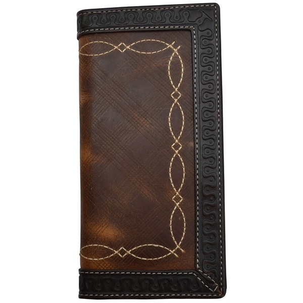 3D Western Wallet Mens Rodeo Distressed Checkbook Chocolate - One size