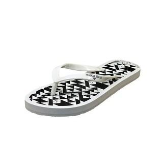 Armani Jeans VW5F4 Women Open Toe Synthetic White Thong Sandal